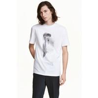 H&M T-shirt z motywem 0456150001 Biały/Srebrny
