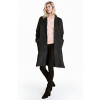 H&M Filcowany płaszcz 0484991001 Ciemnoszary