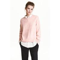 H&M Sweter oversize 0448193003 Jasnoróżowy melanż