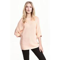 H&M Sweter robiony lewym ściegiem 0244267014 Pudroworóżowy
