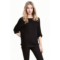H&M Sweter robiony lewym ściegiem 0244267010 Czarny