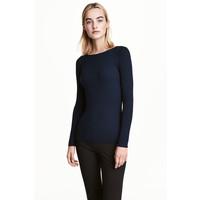 H&M Dopasowany sweter 0461749007 Ciemnoniebieski