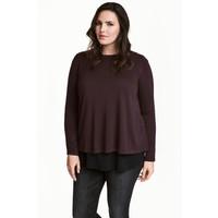H&M H&M+ Cienki sweter 0445216002 Ciemnośliwkowy