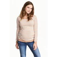 H&M MAMA Sweter 0443025002 Beżowy/Biały/Paski