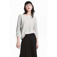 H&M Sweter o splocie w prążki 0411973001 Jasnoszary melanż