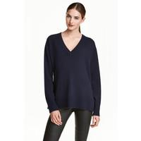H&M Kaszmirowy sweter 0462560003 Ciemnoniebieski