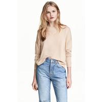 H&M Cienki sweter 0479555010 Jasnobeżowy