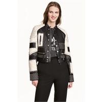 H&M Skórzana kurtka z ćwiekami 0491476001 Czarny/Biały