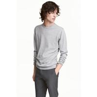 H&M Sweter z bawełny premium 0443638002 Szary melanż