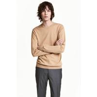 H&M Sweter z bawełny premium 0443638001 Beżowy melanż