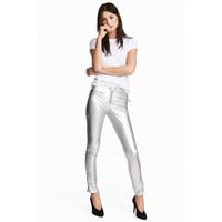 H&M Spodnie w stylu motocyklowym 0483606001 Srebrny