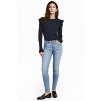H&M Spodnie superstretch 0434429017 Jasnoniebieski denim
