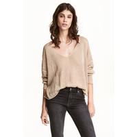 H&M Sweter z domieszką lnu 0484501002 Beżowy