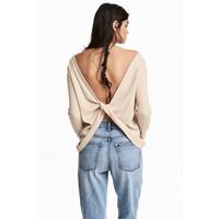 H&M Sweter o splocie w prążki 0486765002 Jasnobeżowy