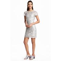 H&M Cekinowa sukienka 0486670001 Srebrny