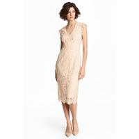H&M Koronkowa sukienka 0483751001 Jasnobeżowy