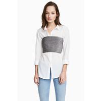 H&M Brokatowy top bandeau 0519898001 Srebrny