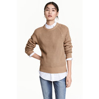 H&M Sweter w patentowy splot 0460379005 Beżowy