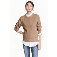 H&M Sweter w patentowy splot 0460379004 Beżowy