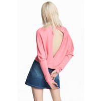 H&M Sweter w prążki 0509309002 Różowy