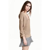 H&M Sweter z dekoltem w serek 0476472003 Beżowy