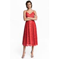 H&M Koronkowa sukienka 0497680001 Czerwony