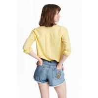 H&M Bawełniana koszula 0463285027 Żółty