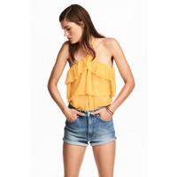H&M Top z odkrytymi ramionami 0497806003 Żółty