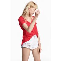 H&M Dżersejowy top w serek 0485973006 Czerwony
