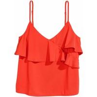 H&M Falbankowy top na ramiączkach 0520658003 Czerwony