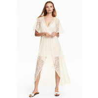 H&M Koronkowa sukienka 0497556001 Naturalna biel