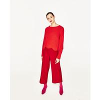 Zara SWETER Z WYKOŃCZENIEM W FALE Czerwony 9598/014