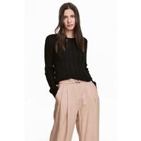 H&M Sweter w warkoczowy splot 0504155004 Czarny