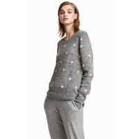 H&M Sweter 0496111009 Szary/Różowe kropki