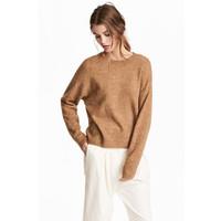 H&M Cienki sweter 0519749008 Ciemnobeżowy melanż