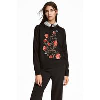 H&M Cienki sweter z haftami 0536896002 Czarny