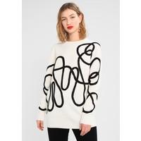 Topshop CORDED PATTERN JUMPER Sweter off-white TP721I0EA