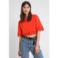 Topshop SQUARE TRIM TEE T-shirt z nadrukiem bright orange TP721D0KG