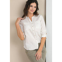 Monnari Lniana bluzka koszulowa BLUIMP0-18L-BLU1440-KM00D700-R36
