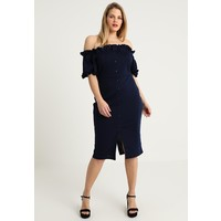 Lost Ink Plus BARDOT BODYCON DRESS WITH BUTTONS Sukienka etui navy LOA21C03M
