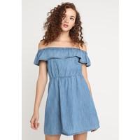 Miss Selfridge FRILL BARDOT DRESS Sukienka jeansowa blue denim MF921C0KM