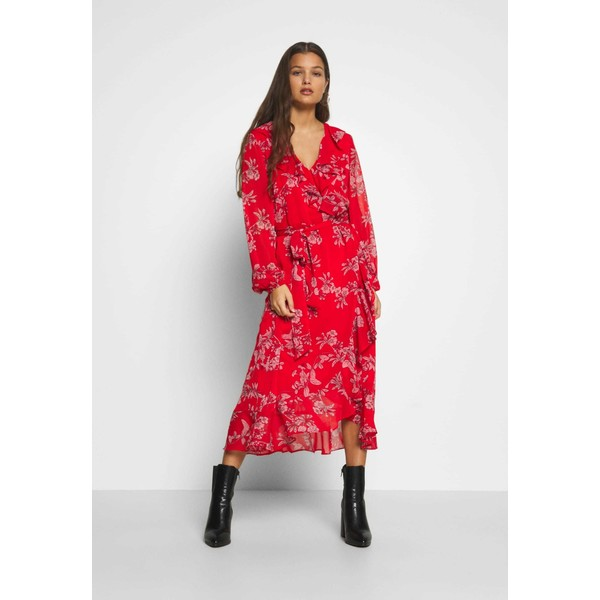 Wallis Petite CONTRAST FLORAL MIDI DRESS Sukienka letnia red WP021C07V