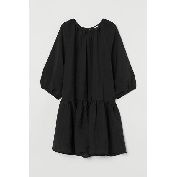 H&M Sukienka z baloniastym rękawem 0915453001 Czarny