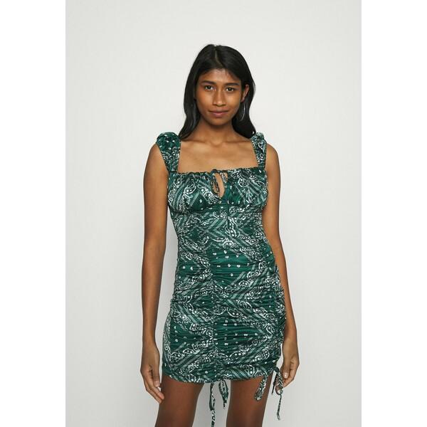 Missguided PAISLEY CAP SLEEVE RUCHED MINI DRESS Sukienka letnia green M0Q21C1XL