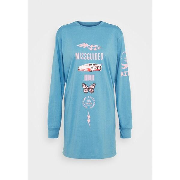 Missguided OVERSIZED DRESS LS BUTTERFLY CAR Sukienka z dżerseju blue M0Q21C1SR