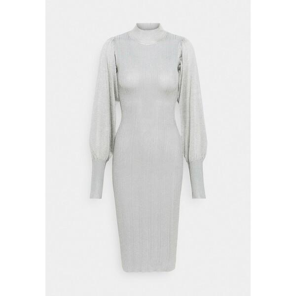 Missguided METALLIC PUFF SLEEVE MIDI DRESS Sukienka etui silver M0Q21C1QT