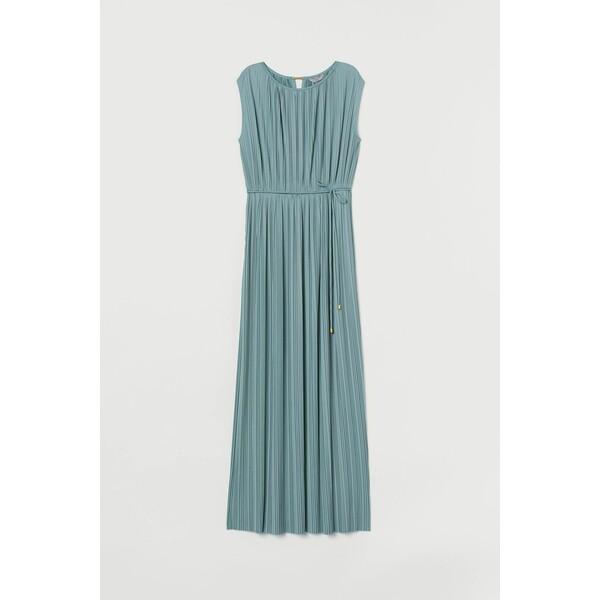 H&M Długa sukienka plisowana 0783553004 Turkusowy