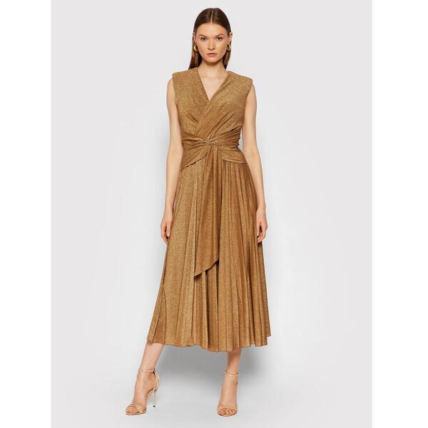 Rinascimento Sukienka wieczorowa CFC0105077003 Złoty Slim Fit