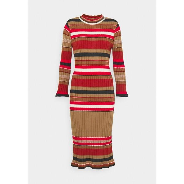 YASSULLY MIDI DRESS Sukienka etui tawny brown/sully red stripe Y0121C1G8