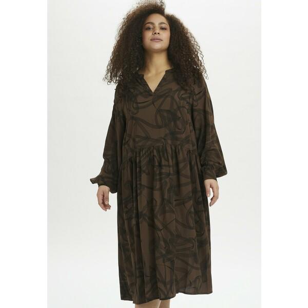 Kaffe Curve KCBILLA Sukienka letnia brown/black graphic KAN21C02N